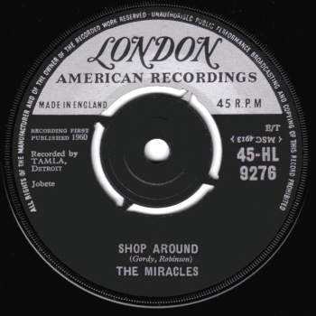 The British release, on the London American label.  Scan kindly provided by Gordon Frewin, reproduced by arrangement.