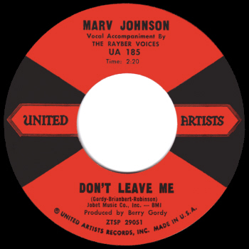 Marv Johnson's original release on United Artists.  Scan kindly provided by Gordon Frewin, reproduced by arrangement.