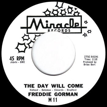 Promo label scan kindly provided by Gordon Frewin, reproduced by arrangement.