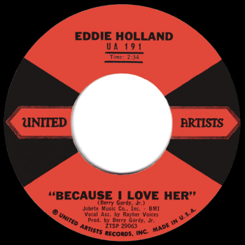 Eddie Holland's original 1959 version on United Artists.  Scan kindly provided by Gordon Frewin, reproduced by arrangement.