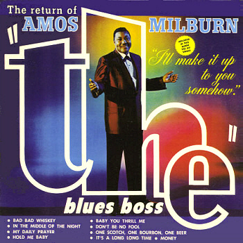 No label scan available; this is Amos Milburn's one and only Motown LP, 'Return of the Blues Boss'.