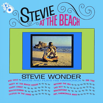 Stevie's 'surf sound' LP 'Stevie at the Beach'; check out the legend, 'Stevie sings and plays his harmonica!', a stark illustration of what lies within.  Scan provided by Gordon Frewin, used by arrangement.