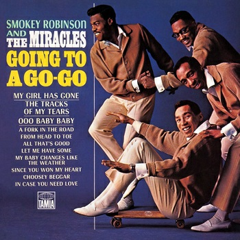The Miracles' superb fifth LP proper, 'Going To A Go Go', which featured this song. The album was the first Miracles release to feature Smokey's name front and centre. Claudette not pictured. Hmm.